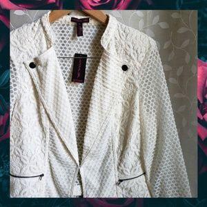 {Material Girl}Cream Sheer Lace Moto Jacket XL